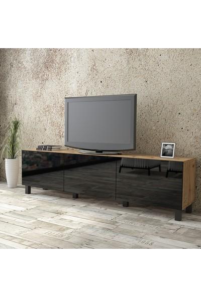 Yurudesign Aqua Tv Ünitesi High Gloss 180cm 3 Kapak Siyah AU5-A2B-BBB
