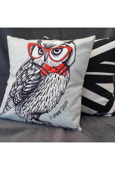 Unicolor Dekoratif Baskılı Kırlent Kılıfı-Kırmızı Gözlüklü Baykuş Desenli