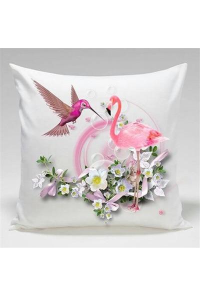 Unicolor Dekoratif Baskılı Kırlent Kılıfı-Çiçekli Kuğu