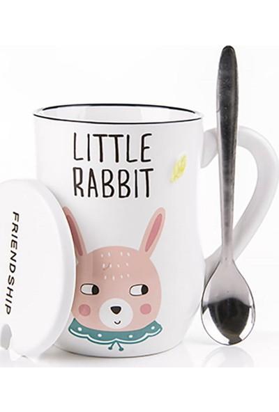 Gift Home Yavru Tavşan Figürlü Kapaklı Ve Kaşıklı Kupa Bardak