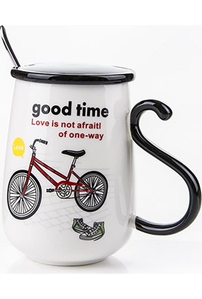 Gift Home Kırmızı Bisiklet Temalı Kapaklı Ve Kaşıklı Kupa Bardak