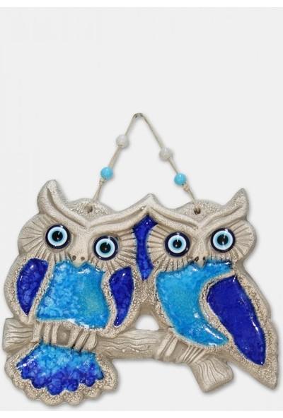 Angemiel Home Seramik Mavi Çift Baykuş No:1 Duvar Aks.