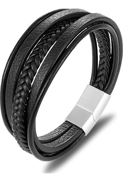 Angemiel Men Siyah Çok Katlı Çelik Klipsli Model Deri Erkek Bileklik