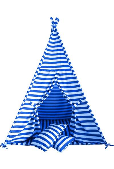 Svava Unisex Çocuk Oyun Çadırı (Turkuaz - Beyaz)