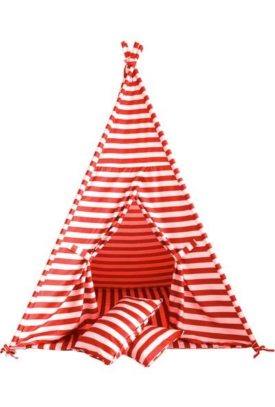 Svava Unisex Çocuk Oyun Çadırı (Kırmızı - Beyaz)