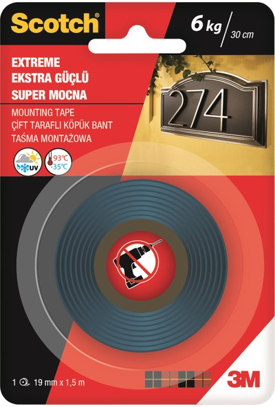 3M 4002 Scotch® Extra Güçlü Çift Taraflı Köpük Bant 19mm x 1,5m