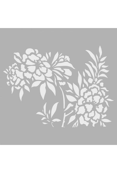 Artikel Çiçekler Stencil Tasarımı 30 x 30 Cm