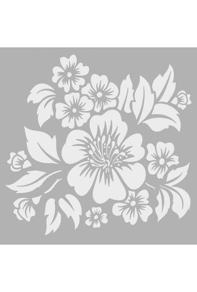 Artikel Tropikal Çiçek -2 Stencil Tasarımı 30 x 30 Cm