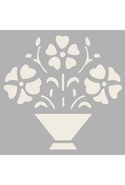 Artikel Saksıda Çiçek 3 Stencil Tasarımı 30 x 30 Cm