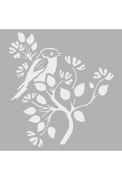 Artikel Dalda Kuş Stencil Tasarımı 30 x 30 Cm