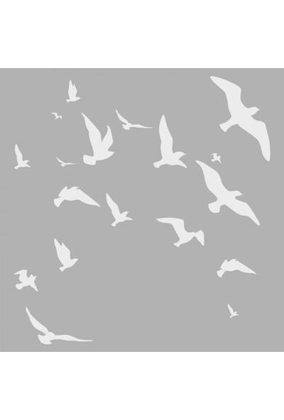 Artikel Uçan Kuşlar Stencil Tasarımı 30 x 30 Cm