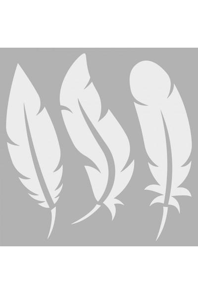 Artikel Kuş Tüyü Stencil Tasarımı 30 x 30 Cm