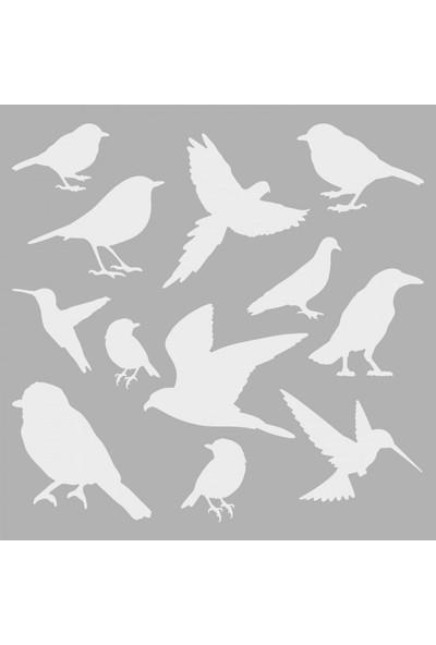 Artikel Kuşlar Stencil Tasarımı 30 x 30 Cm