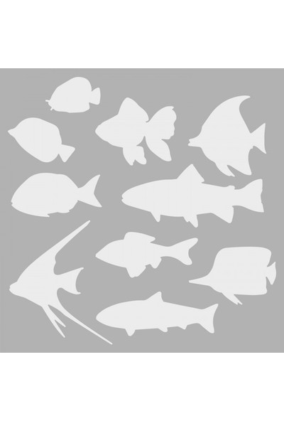 Artikel Balıklar Stencil Tasarımı 30 x 30 Cm