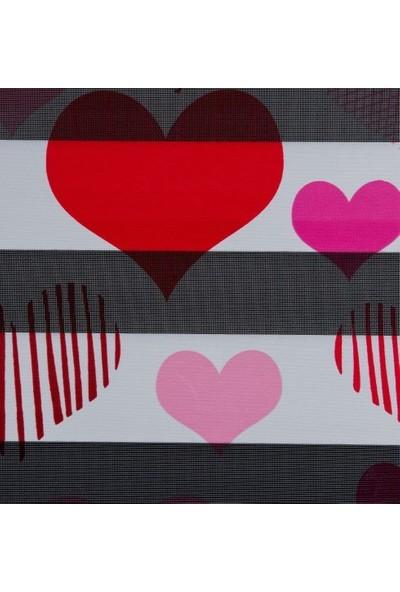 Güneş Perde Brillant Kalp Baskılı Zebra 100X200 cm