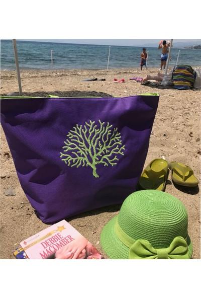 Atölye Müge Kişiye Özel Nakışlı Plaj Çantası-Mor