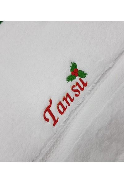 Atölye Müge Kişiye Özel Nakışlı Yılbaşı havlusu-Beyaz 30x50cm