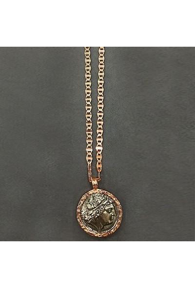 Vella Jewels Barlı Kalın Zincir Ucu Antik Para Kolye