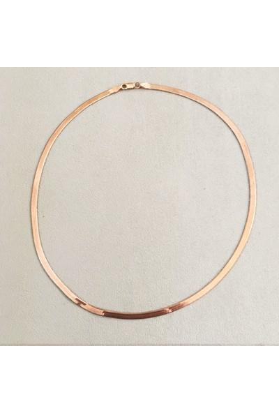 Vella Jewels İtalyan Yassı Zincir 45 Cm (Rose Renk)