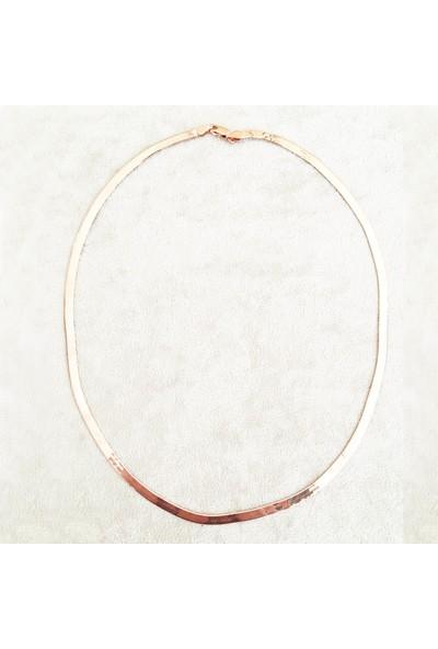 Vella Jewels Rose Rengi İtalyan Yassı Zincir 45 Cm