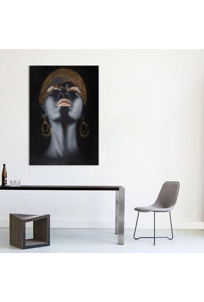 Özverler Kaet-016 Kadın İşlemeli 60 x 90 cm Yağlı Boya Kanvas Tablo