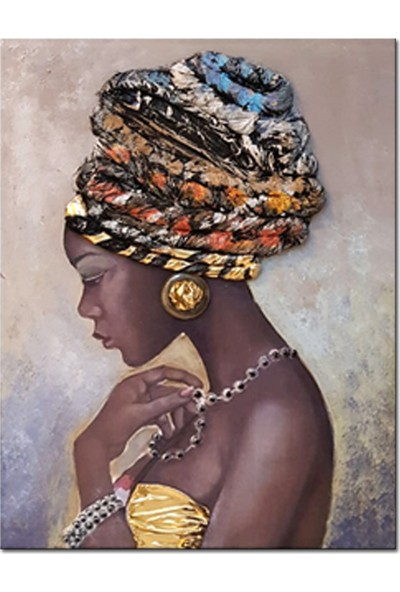 Özverler Dcrt-066 Sarıklı Kadın İşlemeli 75 x 100 cm Yağlı Boya Kanvas Tablo