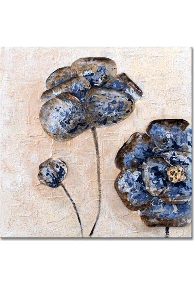 Dementia Art Ybcı-023 Yağlı Boya Metal Çiçekli 80 x 80 cm Yağlı Boya Kanvas Tablo