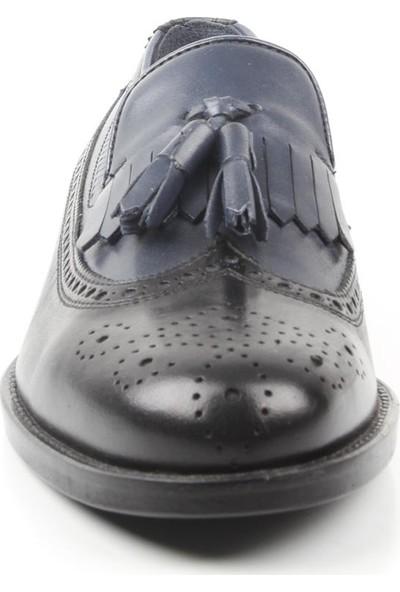 Veyis Usta Siyah Lacivert Püsküllü Erkek Kösele Ayakkabı 42192