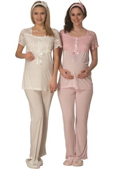 Şık Mecit Likralı Dantelli Lohusa Pijama Takımı