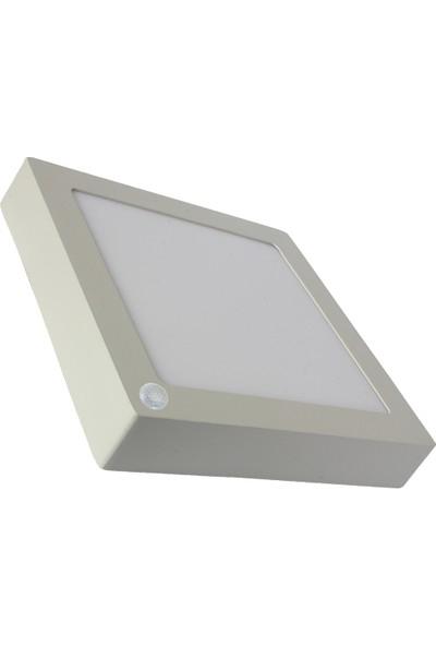 Sıva Üstü Slim Led Downlight Ir Sensörlu Beyaz Gövde 24W Kare 6500K Beyaz Işık Lamptıme