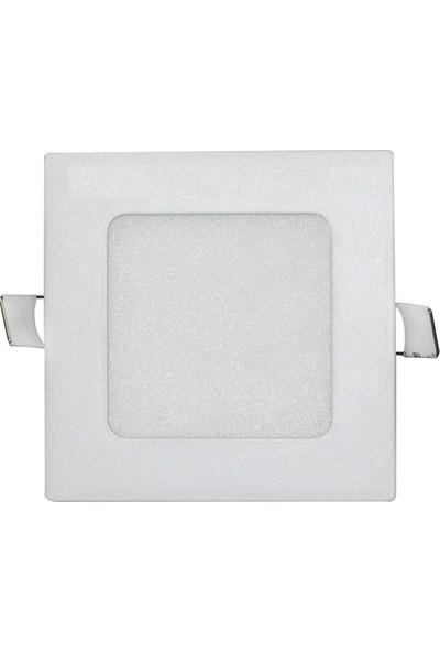 Sıva Altı Slim Led Downlight 6W Kare Beyaz Gövde 6500K Beyaz Işık Lamptıme