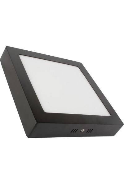 Sıva Üstü Slim LED Downlight Siyah Gövde 20W Kare 6500K Beyaz Işık Lamptıme