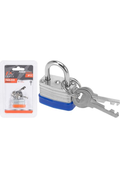 Hepsiburada FX Tools 2 Anahtarlı Çinko Kaplamalı Demir Asma Kilit (30 Mm)