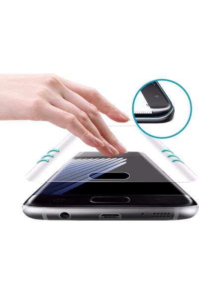 Microcase Samsung Galaxy S8 Plus 3D Kavisli Tempered Cam Koruma - Siyah