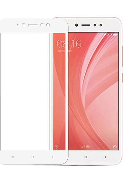 Microcase Xiaomi Redmi Note 5A Tam Kaplayan Çerçeveli Tempered Ekran Koruyucu - Beyaz