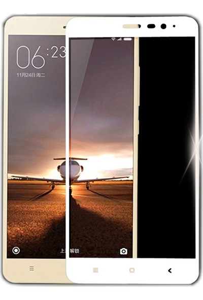 Microcase Xiaomi Redmi Note 3 Tam Kaplayan Çerçeveli Tempered Ekran Koruyucu - Beyaz