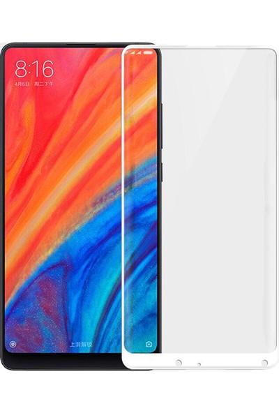 Microcase Xiaomi Mi Mix 2S Tam Kaplayan Çerçeveli Tempered Ekran Koruyucu - Beyaz