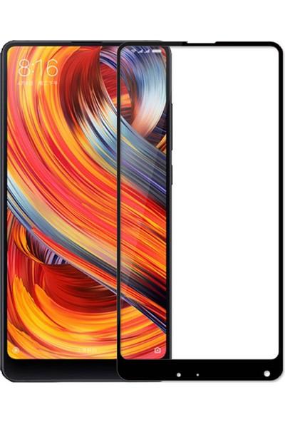 Microcase Xiaomi Mi Mix 2S Tam Kaplayan Çerçeveli Tempered Ekran Koruyucu - Siyah