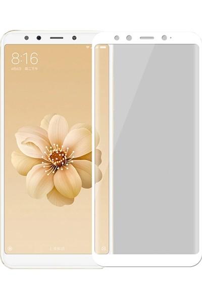 Microcase Xiaomi Mi A2 / Mi 6X Tam Kaplayan Çerçeveli Tempered Ekran Koruyucu - Beyaz