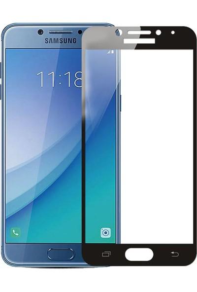 Microcase Samsung Galaxy C5 Pro Tam Kaplayan Çerçeveli Tempered Ekran Koruyucu - Siyah