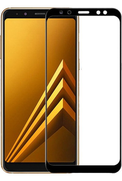 Microcase Samsung Galaxy A8 2018 Tam Kaplayan Çerçeveli Tempered Ekran Koruyucu - Siyah