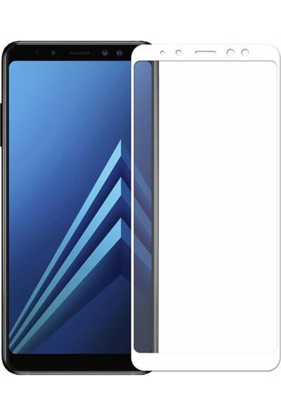 Microcase Samsung Galaxy A8 Plus 2018 Tam Kaplayan Çerçeveli Tempered Ekran Koruyucu - Beyaz
