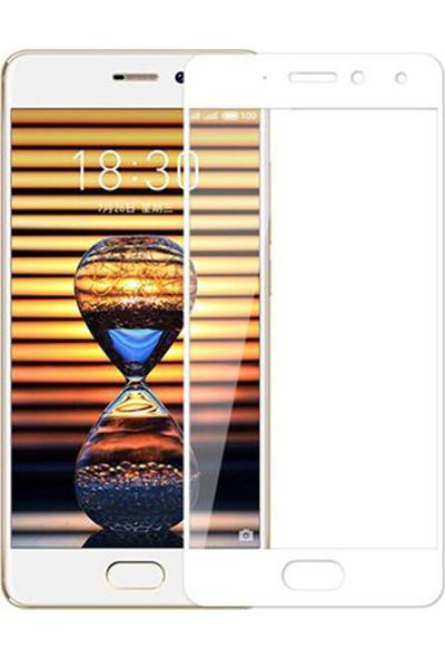 Microcase Meizu Pro 7 Tam Kaplayan Çerçeveli Tempered Ekran Koruyucu - Beyaz