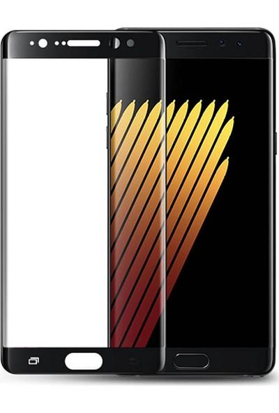Microcase Samsung Galaxy Note Fan Edition 3D Kavisli Tempered Cam Koruma - Siyah