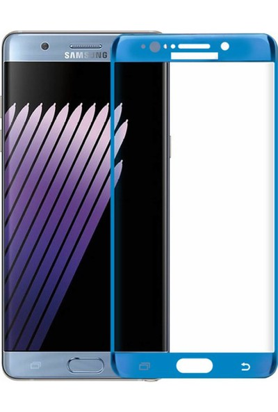 Microcase Samsung Galaxy Note Fan Edition 3D Kavisli Tempered Cam Koruma - Mavi