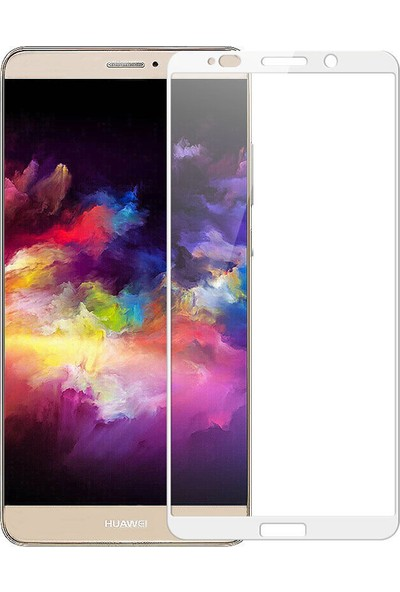 Microcase Huawei Mate 10 Pro Tam Kaplayan Çerçeveli Tempered Ekran Koruyucu - Beyaz