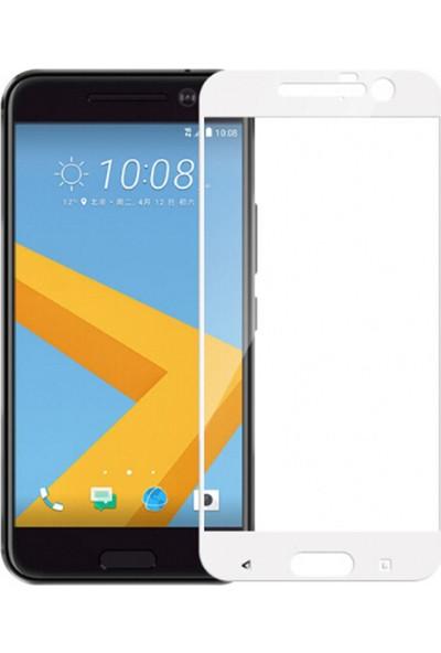 Microcase HTC 10 Tam Kaplayan Çerçeveli Tempered Ekran Koruyucu - Beyaz