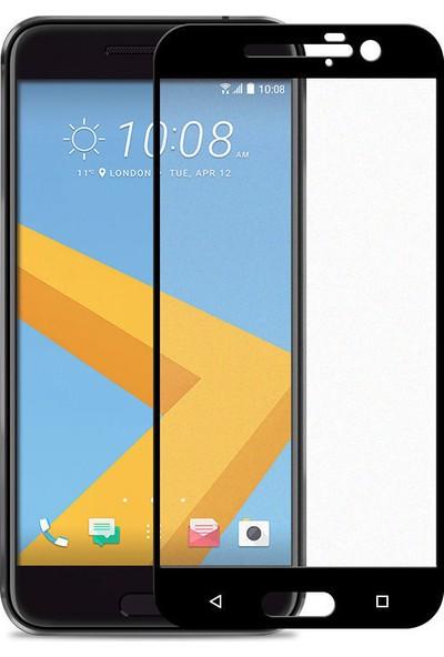 Microcase HTC 10 Tam Kaplayan Çerçeveli Tempered Ekran Koruyucu - Siyah