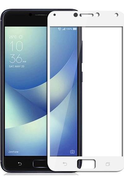 Microcase Asus Zenfone 4 Max ZC554KL Tam Kaplayan Çerçeveli Tempered Ekran Koruyucu - Beyaz