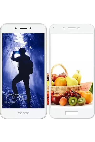 Microcase Huawei Honor 6A Tam Kaplayan Çerçeveli Tempered Ekran Koruyucu - Beyaz